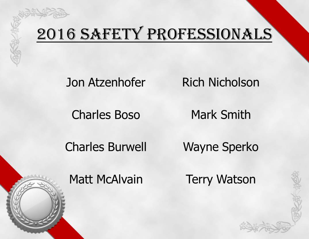 List of 2016 Safety Professionals