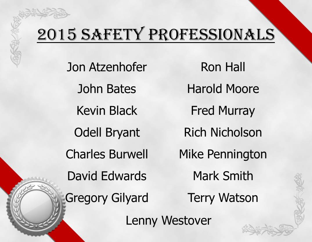 2015 Safety Professionals List by Driver Name